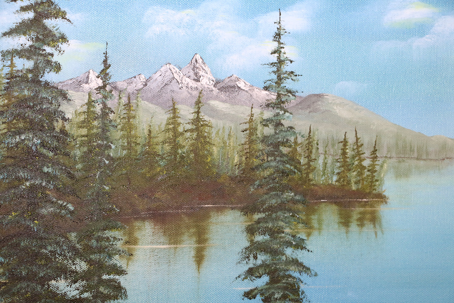 Painting of a Mountain scene with trees